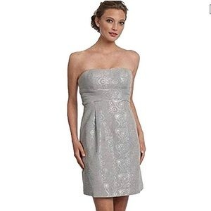 Max & Cleo silver metallic jacquard party dress 4